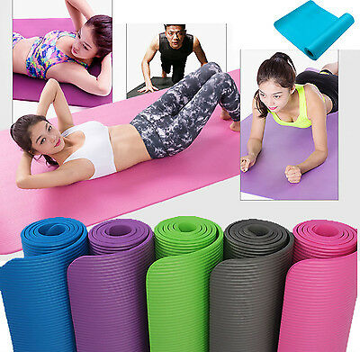 10MM Exercise Yoga Pad Mat Non Slip Durable Pilates Physio Fitness Gym Cushion