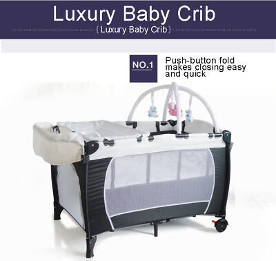 New All in 1 Portable Travel Cot Portacot Playpen Bassinet Rocker Toy Insect Net