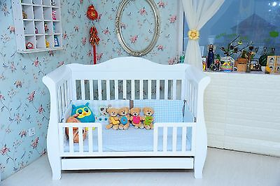 New 3 in1 White  sleigh Baby Cot Bed Crib Toddler Bed with Drawer & Mattress