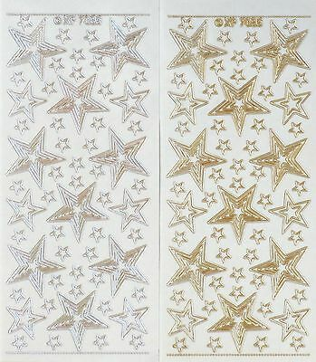 Embossed STARS Christmas Large Small Transparent Outline PEEL OFF STICKERS