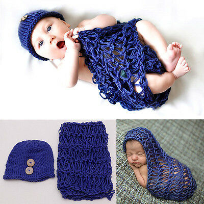 Newborn Baby Girl Boy Crochet Knit Costume Blanket Photo Photography Prop Outfit
