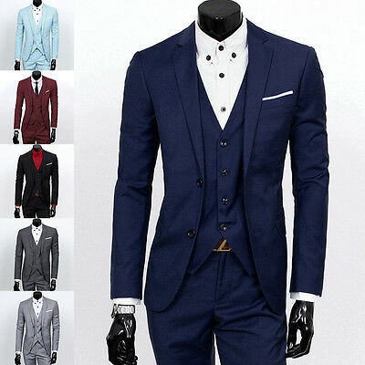 Men Slim Fit 3 Pieces Lapel Suit Best Man Groom Formal Tuxedo Business Vest Coat
