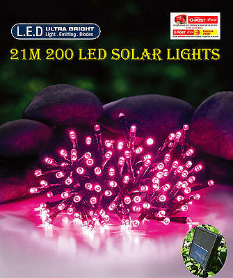 200 LED 20.9M Pink Solar Christmas Wedding Party String Lights
