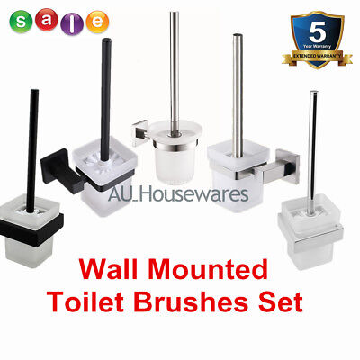 Square/Round Wall Mounted Toilet Brush Holder Set Frosted Glass Cup Black Chrome