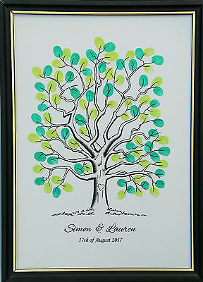 Personalised A3 Fingerprint Tree Guest Book + Ink Wedding Birthday Christening A