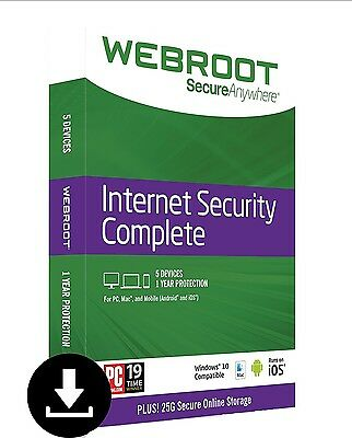 Webroot SecureAnywhere Internet Security COMPLETE 2017, 5 Devices 1Year DOWNLOAD