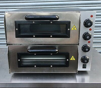 New Infernus Double Deck Electric Pizza Oven Stone Base 2x 16inch 13Amp