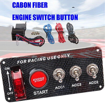 Racing Car 12V Red LED Toggle Ignition Switch Panel Start Push Button Kit