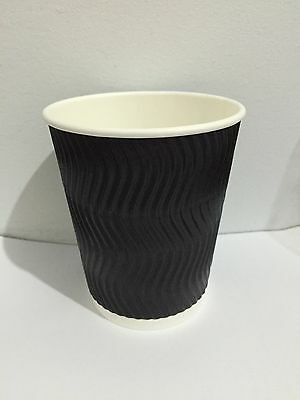 100 sets 8 oz S Black Triple Ripple Wall Disposable Paper Coffee Cups and Lids
