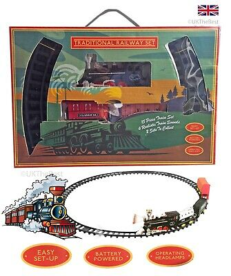New Chiders Deluxe 15 Piece Steam Train Set Realistic Sounds+headlight Gift box