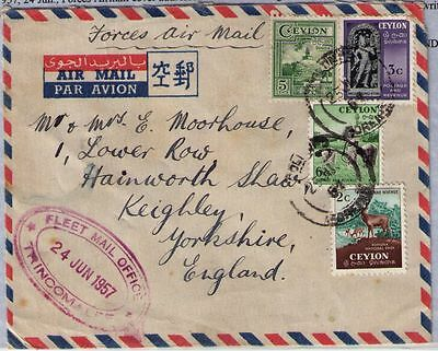 Ceylon 1957 FEAF airmail cover from China Bay Ceylon to UK