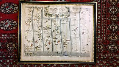 Antique Anglesey map 1675 Continuation of the Road London to Holyhead Ogilby