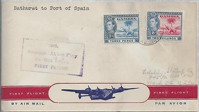Gambia 1941 1st Flight cover from Bathurst to Port of Spain Trinidad