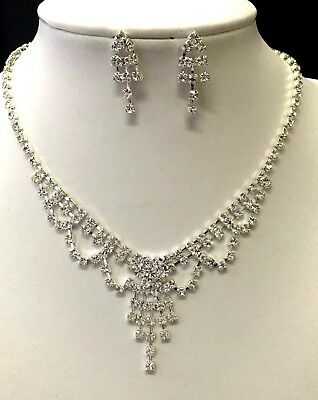 Beautiful bridal party necklace and earrings set with crystal rhinestones