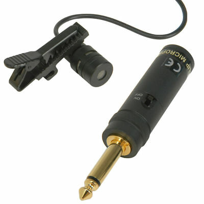 Clip On Tie Handsfree Condenser Microphone with 6.35mm 1/4 inch Mono Adapter [00