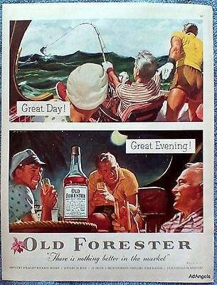 1954 Old Forester Whisky Deep Sea Fishing Day Drinking Under Stars Night ad