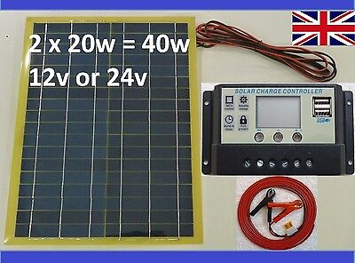 40w(2x 20w) Solar Panel+10A 12v Charger /w 2x 5V USB +8m cable /w fuse & clips