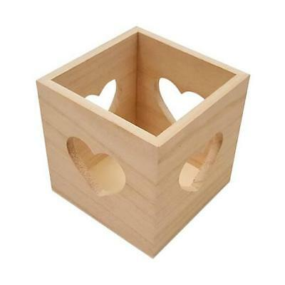 Bare Wood Cube Box - Hearts #8436