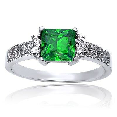 .925 Sterling Silver Square Princess Cut Emerald & Cz Ring Size 4-10