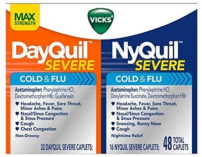 Vicks NyQuil and DayQuil Severe Cold and Flu Medicine Caplets 48 Count