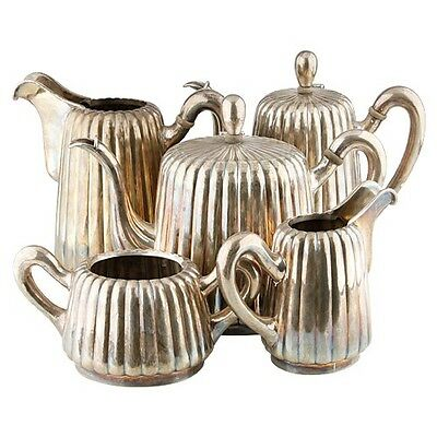 5 Piece Vintage Sterling Silver Coffee/Tea Service Set (140oz) Sugar Cream