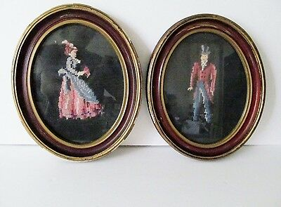 Antique Vintage Victorian Style Needlepoint Art Man Woman Orig Frames-Set of 2