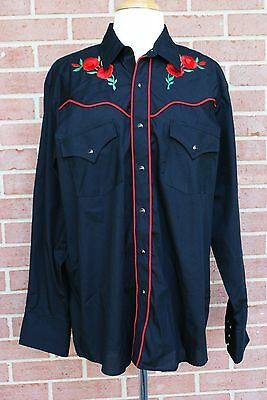 Ely Cattleman Womens EMBROIDERED WESTERN Shirt - L - Black with Red Roses