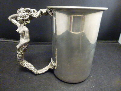 """Fellowship Foundry -  large Mermaid Stein pewter   5 """" TALL X  3 5.8 ROUND"""