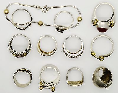 Sterling Silver Jewelry lot of 11 Rings 1 Bracelet some vintage some gold 71.8gr