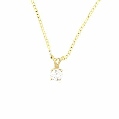 14K Yellow Gold 0.37Ct Round Cut Solitaire Diamond Pendant With Necklace