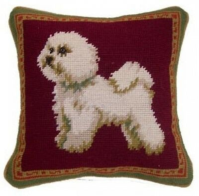 STANDING BICHON FRISE NEEDLEPOINT DOG THROW PILLOW 10 x 10