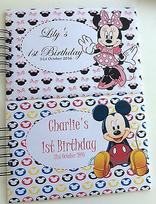 Personalised Minnie or Mickey BIRTHDAY*1st*2nd*3rd*4th*5th*Guest/Memory Book A5