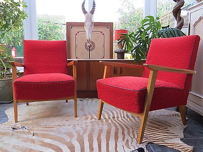 A Pair Of Red East German / Danish Style Cocktail Lounge Armchairs C1965 Au16/11