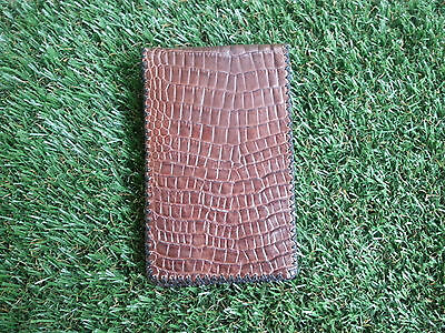 Brown Gator Belly Leather Scorecard and Yardage Book Holder