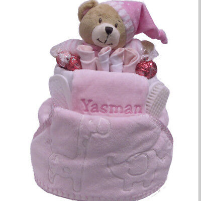 Nappy Cake New Born Baby Girl Personalised Deluxe Gift