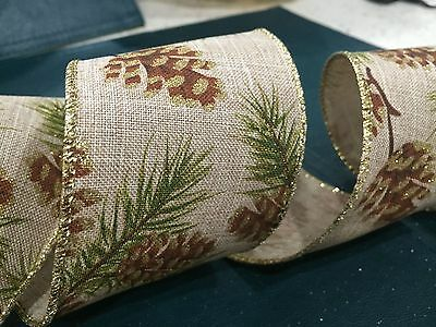 """2.5"""" 63MM Wire Edge Burlap Ribbon w Pine Cones for Christmas New Year Party"""