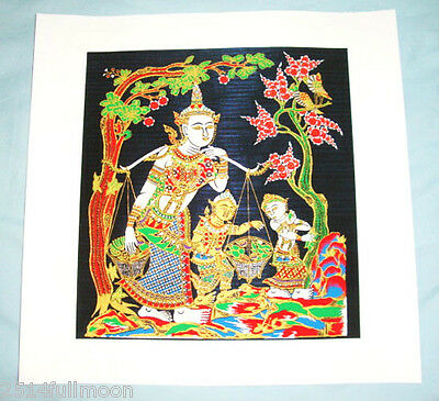 "Thai Art Silk Painting Handmade Picture Home Wall Decor  "" Sang Thong"""