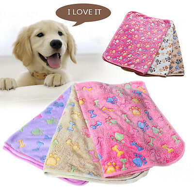 Soft Warm Pet Mat Small Large Paw Print Cat Dog Puppy Fleece Blanket Bed Cushion
