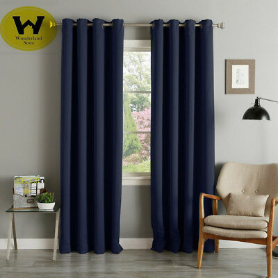 100% Blockout Eyelet Curtains Panel 3Layers Pure Fabric Many Size 6 Colors