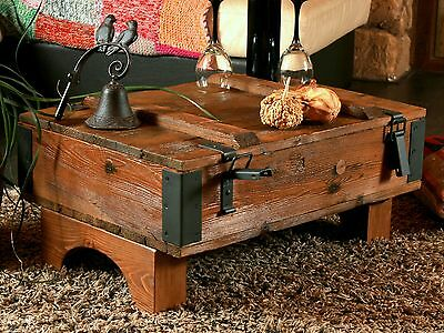 Old Chest Box Table Shabby Chic Wood Side Table Wooden Chest Coffee Table NR5