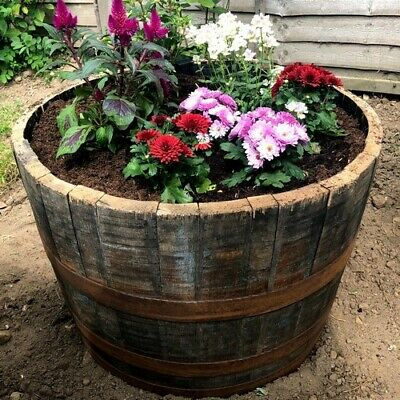 Oak Whisky Half Barrel Planter/Scottish/Wooden/Whiskey/Container/Garden Feature