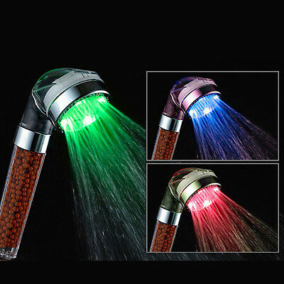 Colorful LED Handheld Shower Head Temperature Sensor Anion Sprayer for Bathroom