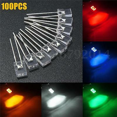 100pcs Rectangular 2x5x7mm Square LED Diodes Light Clear White Yellow Red Blue
