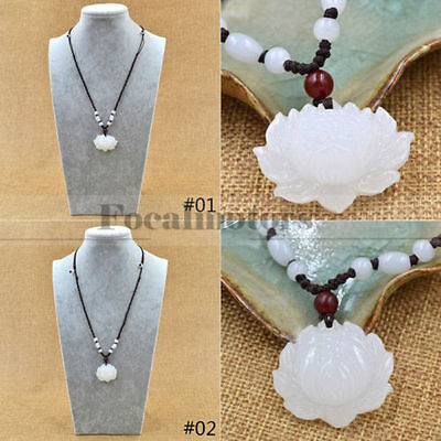 Natural White Jade Carved Lotus Flower Pendant Necklace Beads Rope Chain Lucky