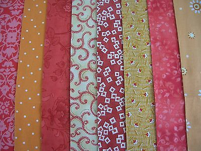 "8 Jelly Roll Coral  44"" X 2.5""  100% Cotton Patchwork/quilt Yrc"