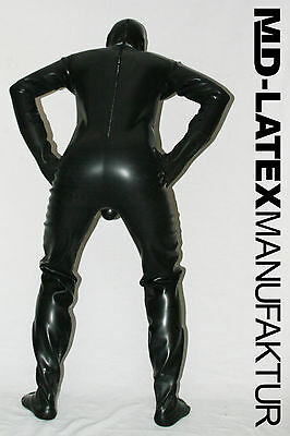 "MD-Latex - ""BLACK"" 0,9mm Latexanzug Latex Rubber Latexoverall Ganzanzug"