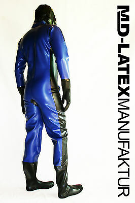 "MD-Latex - ""BLUE & BLACK"" 0,9mm Latexanzug Latex Rubber Latexoverall Ganzanzug"