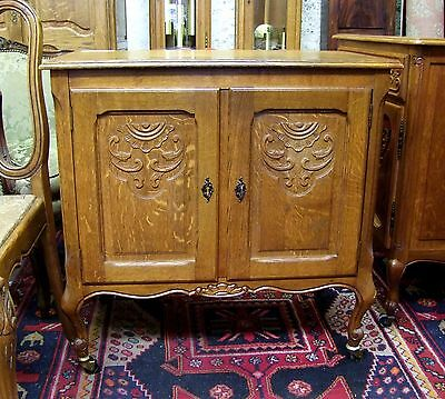 Louis Xv Style Vintage French Carved Oak 2 Door Side Cabinet -  (00897)