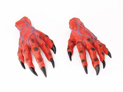 Red Devil Horror Hands Mens Fancy Dress Monster Costume Halloween Adult Gloves