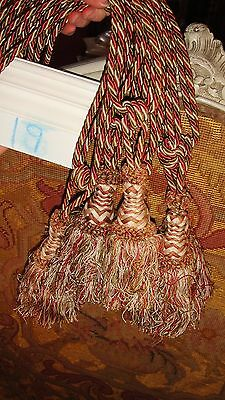 GORGEOUS FRENCH ANTIQUE SET OF 3 CURTAIN DRAPE TIEBACKS with 3 TASSELS